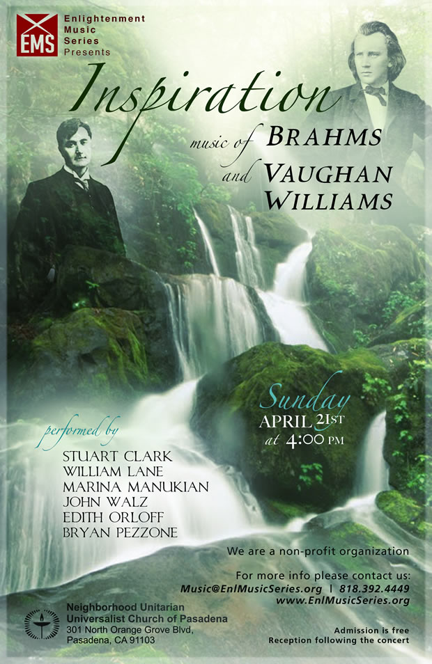 Inspiration - music of Brahms and Vaughan Williams - free concert on April 21, 2013 in Pasadena, CA by Enlightenment Music Series